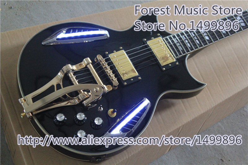 Hot Selling China OEM Glossy Black Finish ES Electric Guitar With LTD Light For Sale цены онлайн
