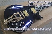 Heißer Verkauf China OEM Schwarzen Hochglänzenden ES Elektrische Gitarre Mit LTD Licht Für Verkauf