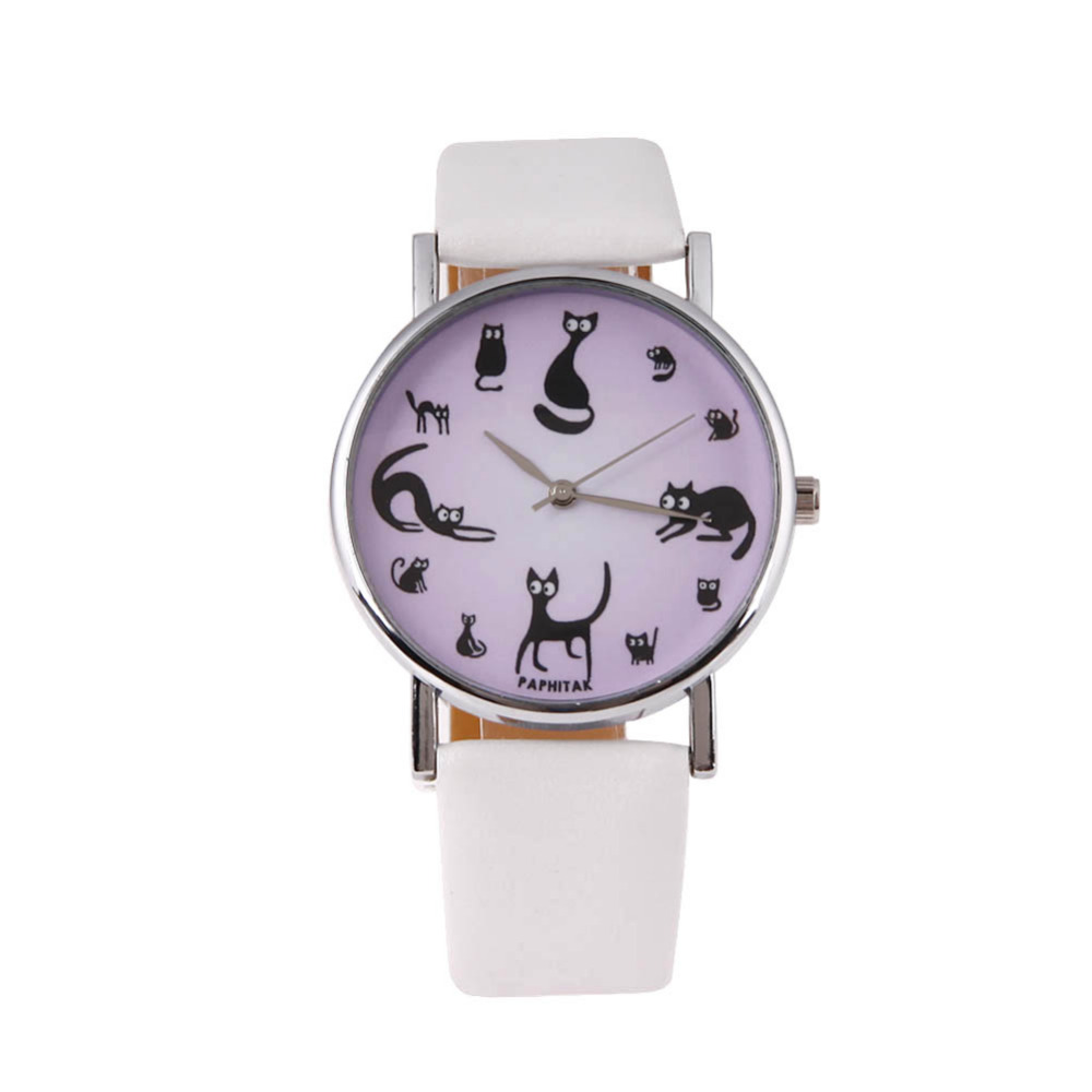 New Fashion Cat Watch Women Cute Watches Candy Color Leather Quartz Wrist Watch montre femme chat motif