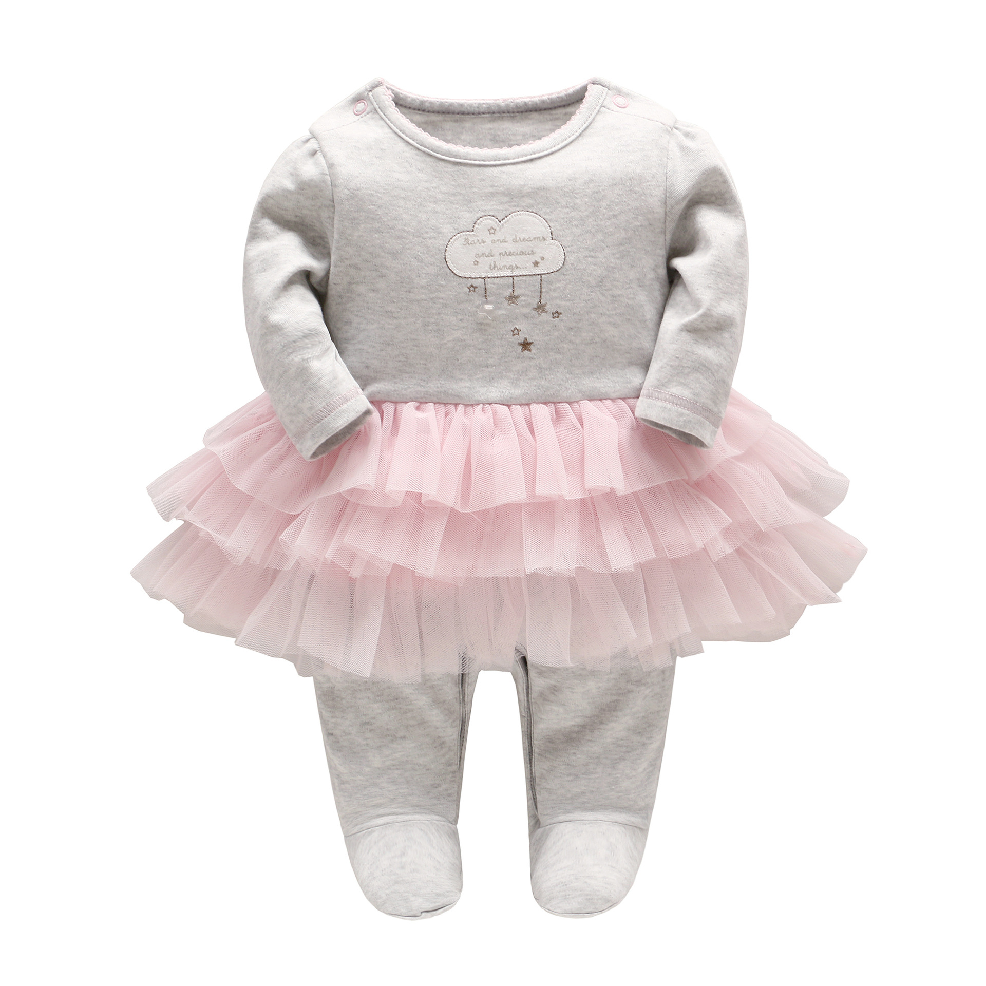 2018 Spring Baby Girl Romper Newborn Cotton Fluffy Romper Dress Infant Long-sleeve Cloud Star Embroidery Clothing Girls Onesie hy2062 gentleman vest cotton baby s long sleeve infant romper cloth black gray size xl