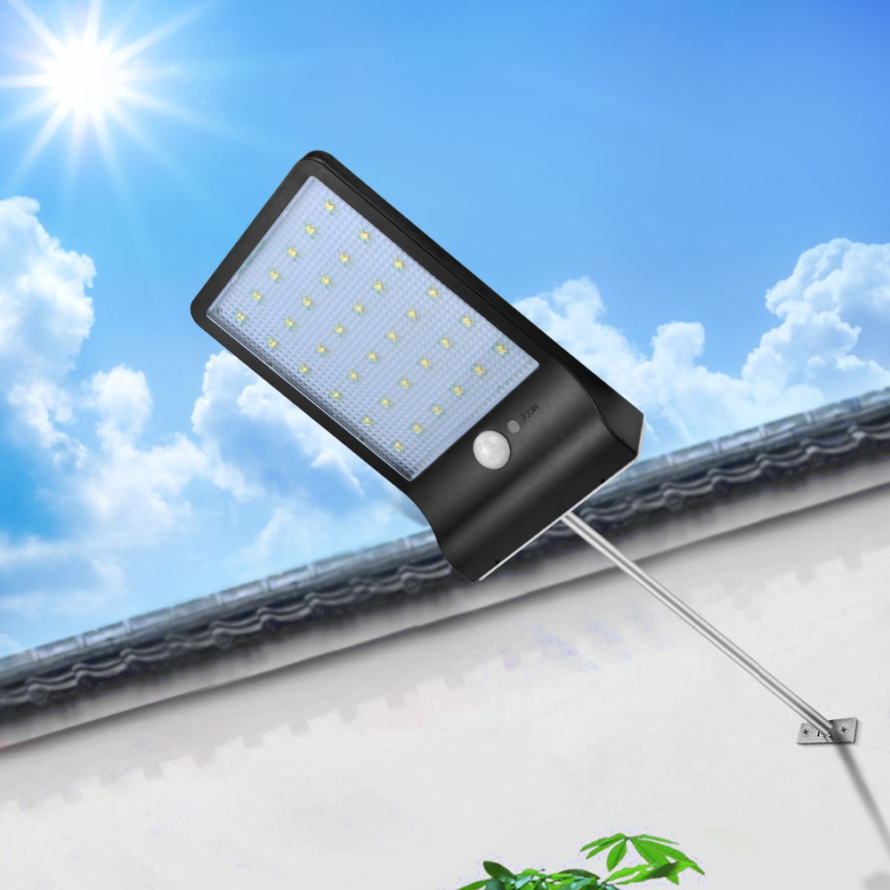GBKOF 36LEDs PIR Motion Sensor Solar Street Light 3 Modes Outdoor Light Wall Lamp Waterproof Energy Saving Yard Path Home Garde
