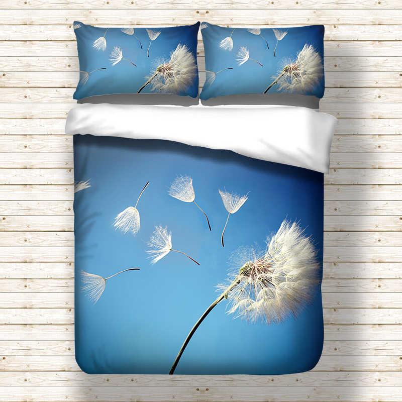 الهندباء مطبوعة طقم سرير ل المعزي الأزرق حاف مجموعة غطاء مع سادات أغطية زهرة بوليستر بياضات سرير مجموعة