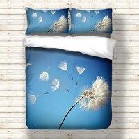 Dandelion printed Bedding Set for comforter Blue Duvet Cover set with pillowcases Bedclothes polyester Flower bed linens set
