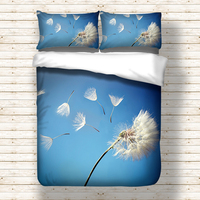 Dandelion printed Bedding Set for comforter Blue Duvet Cover set with pillowcases Bedclothes polyester Flower bed linens set