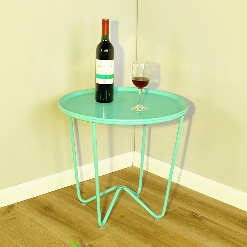 Assemble SKY BLUE Home Furnishing Simple Tea Table Living Room Iron Small Round Fashion Small Side Sofa Table simple modern toughened glass small round bar table living room home leisure fashion high round table