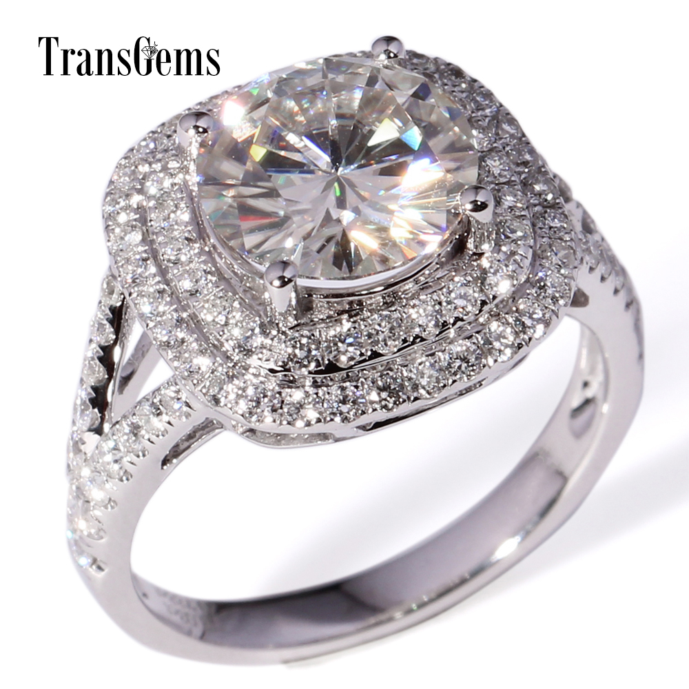 Transgems 3 Carat Lab Grown Moissanite Diamond Wedding Halo Ring Lab Diamond  Accents Solid 14k White