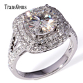 TransGems 3 Carat Laboratorio Crecido Moissanite Diamante anillo de Boda Anillo de Halo Real Acentos de Diamante Sólido 14 K Oro Blanco Mujeres Band