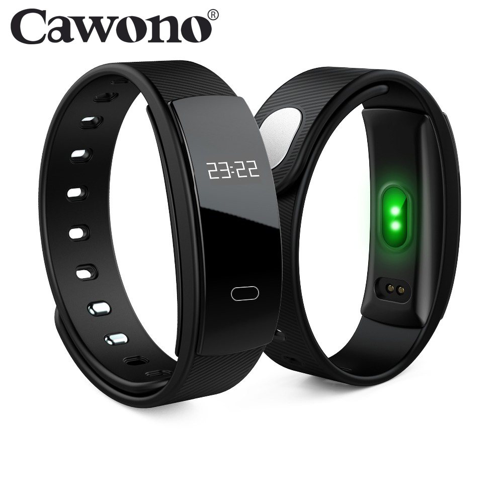 Cawono QS80 Bluetooth Cicret Bracelet Smart Wristband Heart Rate Monitor Fitness tracker Bracelet for iPhone Android Smartphones