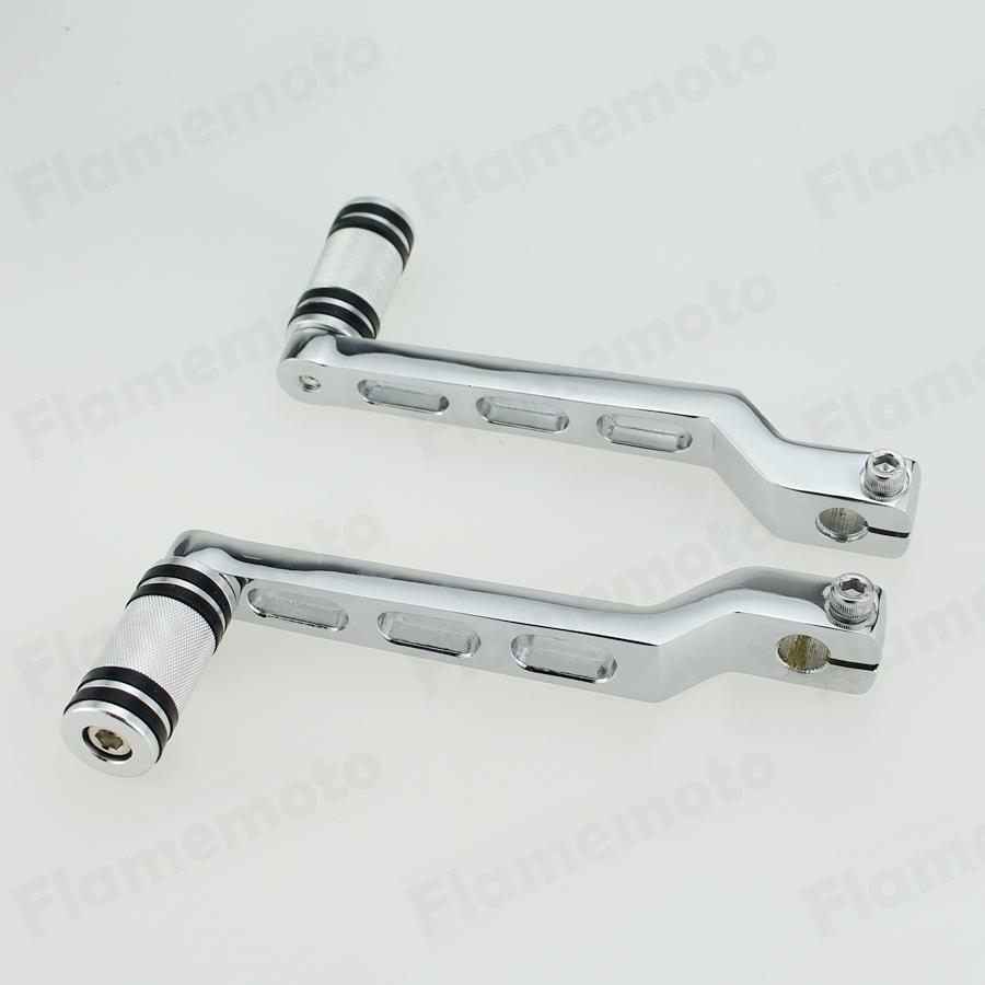 Chrome Motorcycle Heel Toe Shift Lever With Knurled Shifter Peg For Harley Touring Softail