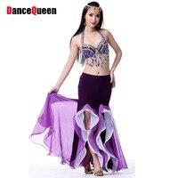 New 2014 Dance Skirt 9color Belly Dance Dress Double Split Skirt For Belly Dance Free Size