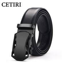 CETIRI Fashion Men's Leather Ratchet Dress Automatic Buckle Belt Luxury Belts Business Alloy Buckle Belts For Men Girdle Cinto