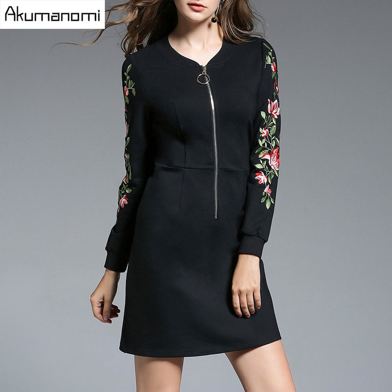 Autumn Winter Heart V-neck Embroidery Full Sleeve Zipper Black Women's Clothes Spring Dress Fashion High Quality Plus Size 5XL-M