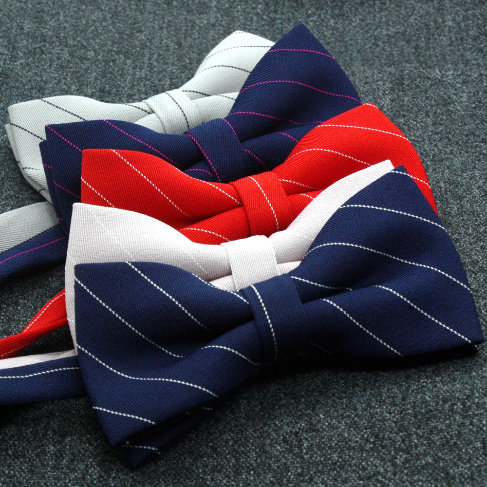 15 Colors Mens Bowtie Striped Wedding Groomsmen Bow Ties for Men Designer Navy Blue Red Purple Grey Cotton Butterfly Necktie