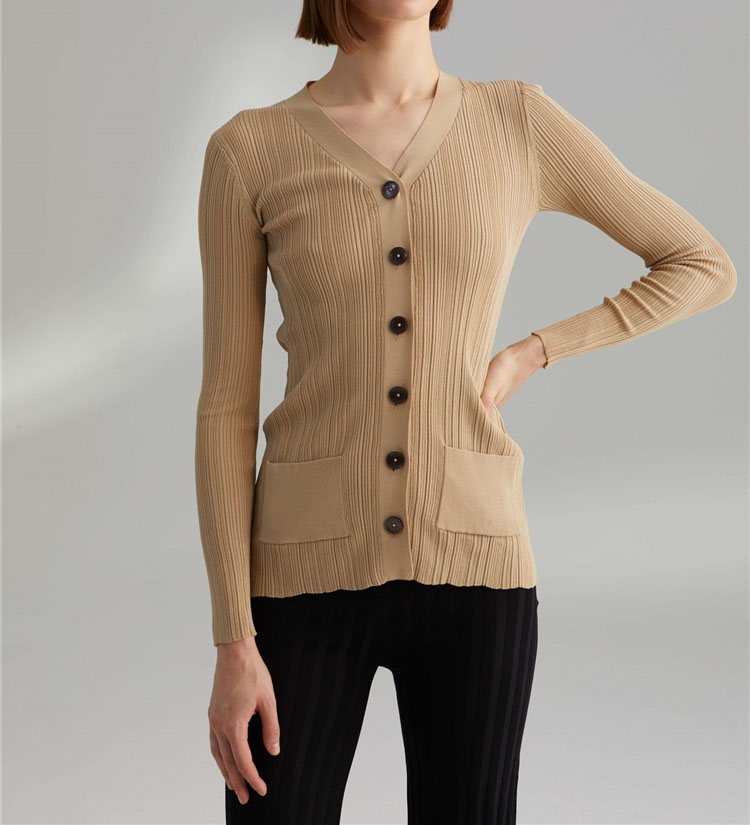 Black Cassino KNIT CARDIGAN V NECK LONG SLEEVES Front Buttons up Side Pockets Woman Elastic Knitted