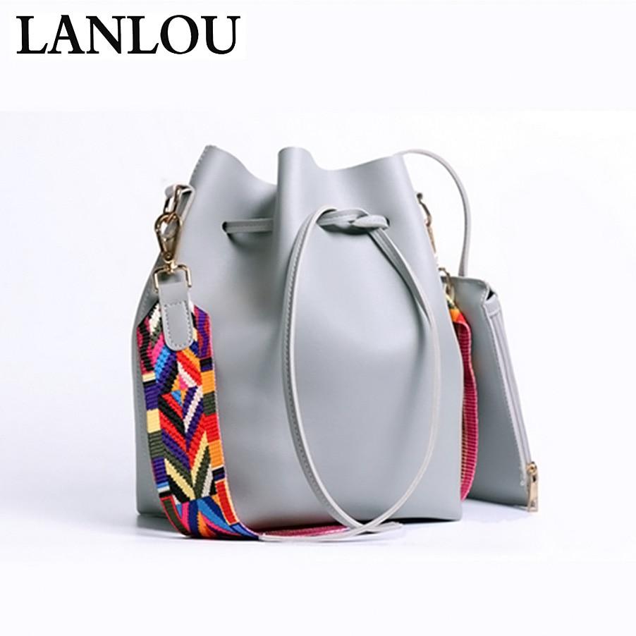 LANLOU New Women Handbags Ladies Famous Fashion Bucket Messenger Bags PU Leather Tassel Brands Tote Bag Versatile Crossbody Bags