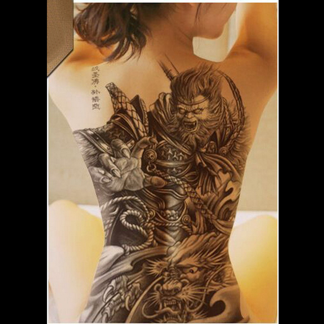 c50ba8f17 Large Black Tattoos Men Women Waterproof Big Temporary Tattoo Stickers  dragon darkness wolf Full Back Fake