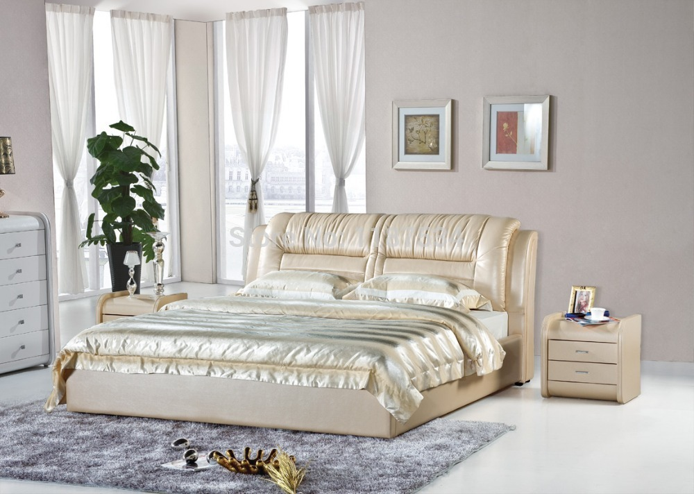 Bedroom furniture king size large soft bed leather comfortable bed B227 simple leisure contemporary modern leather bed king size bedroom furniture made in china