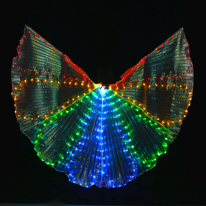 8 slice colored belly dance isis wings with leds with the stick butterfly dancer costume prop