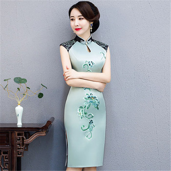 Elegant Light Green Embroidery Flower Women Formal Party Short Qipao Sexy Split Satin Cheongsam Vintage Mandarin Collar Dress