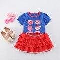 Лыжные костюмы дети мода девушки лыжный костюм летом с коротким рукавом красная юбка + футболка девушка принцесса 2 шт. набор санта-клаус детские костюм