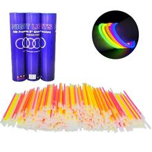 100 Pcs Party Fluorescence Light Glow Sticks Bracelets Necklaces Neon For Wedding Bright Colorful