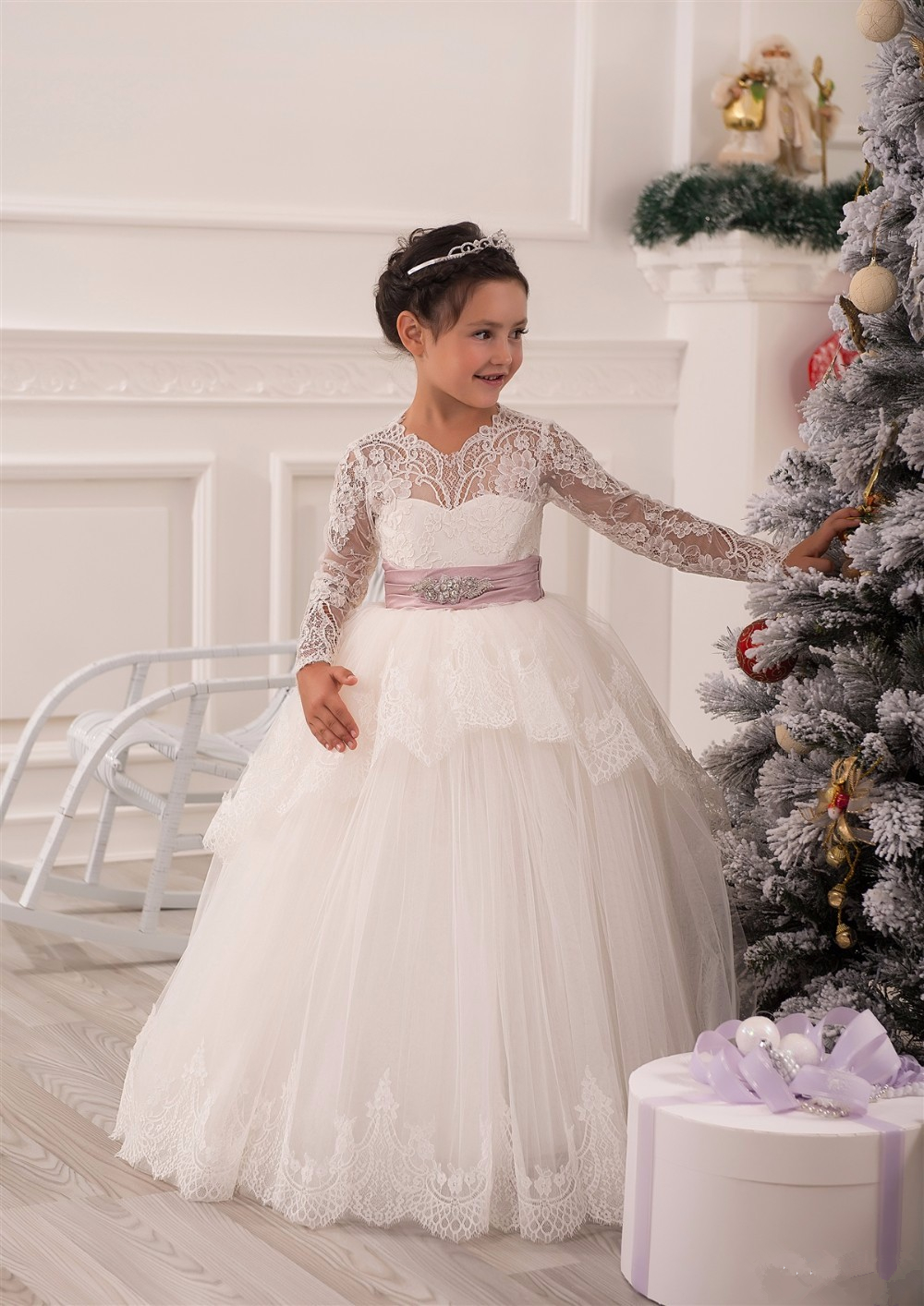 White Ivory Long Sleeve First Communion Dresses Cute Little Girls pageant Dresses Tulle Ball Gown Flower Girls Dresses jessica simpson little girls kenzie graphic with pleather sleeve