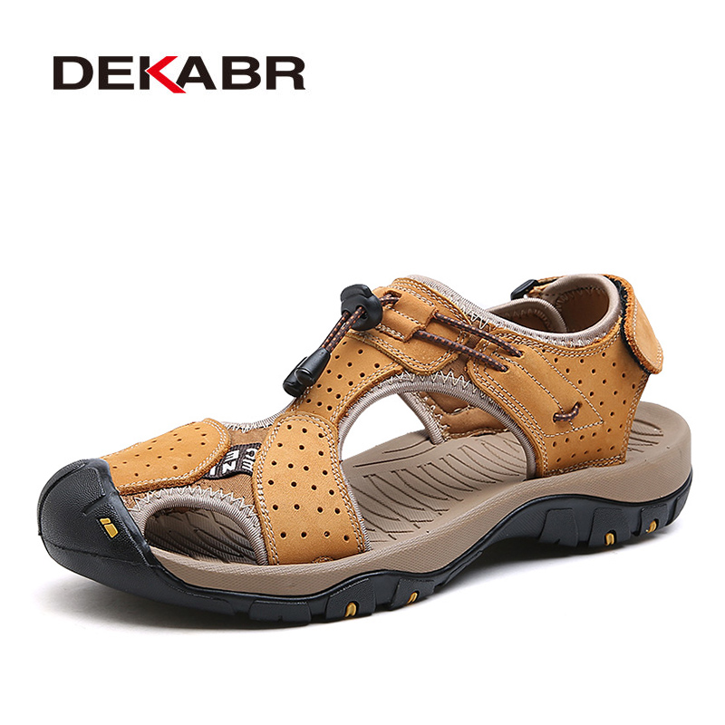 Image 5 - DEKABR High Quality Men Sandals Fashion Genuine Leather Casual Shoes Classic Style Male Sandals Breathable Summer Shoes for Menshoes classicshoes forshoes for men -