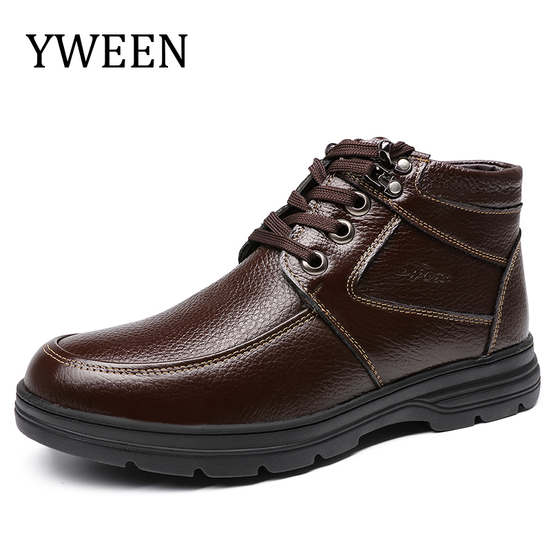 YWEEN Men's Leather Snow Boots Lace Up Ankle Boots High Top Winter Shoes with Fur Lining цена