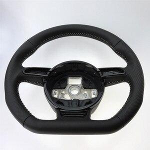 Image 3 - NoEnName_Null dla Audi A3 A4 A5 A6 A7 Q3 Q5 Q7 w pełni perforowana kierownica płaska podeszwa kierownica kampania