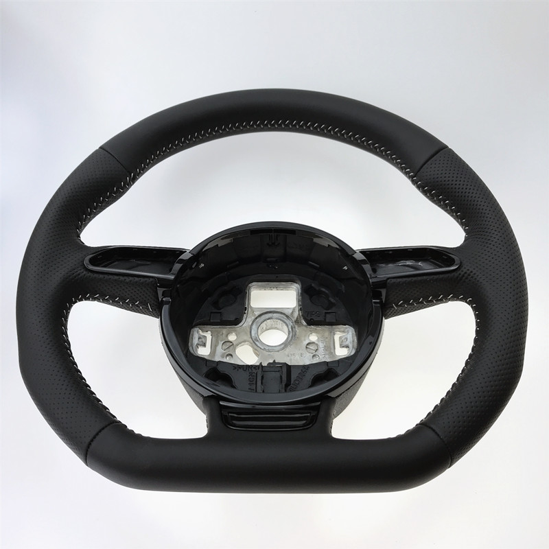 Image 3 - NoEnName_Null  for Audi A3 A4 A5 A6 A7 Q3 Q5 Q7 fully perforated steering wheel flat bottom steering wheel campaignSteering Wheels & Horns   -