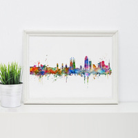 Barcelona Spain City Skyline Wall Art Poster Skyline Watercolor Barcelona Wall Hanging Colorful Pictures Paper Art