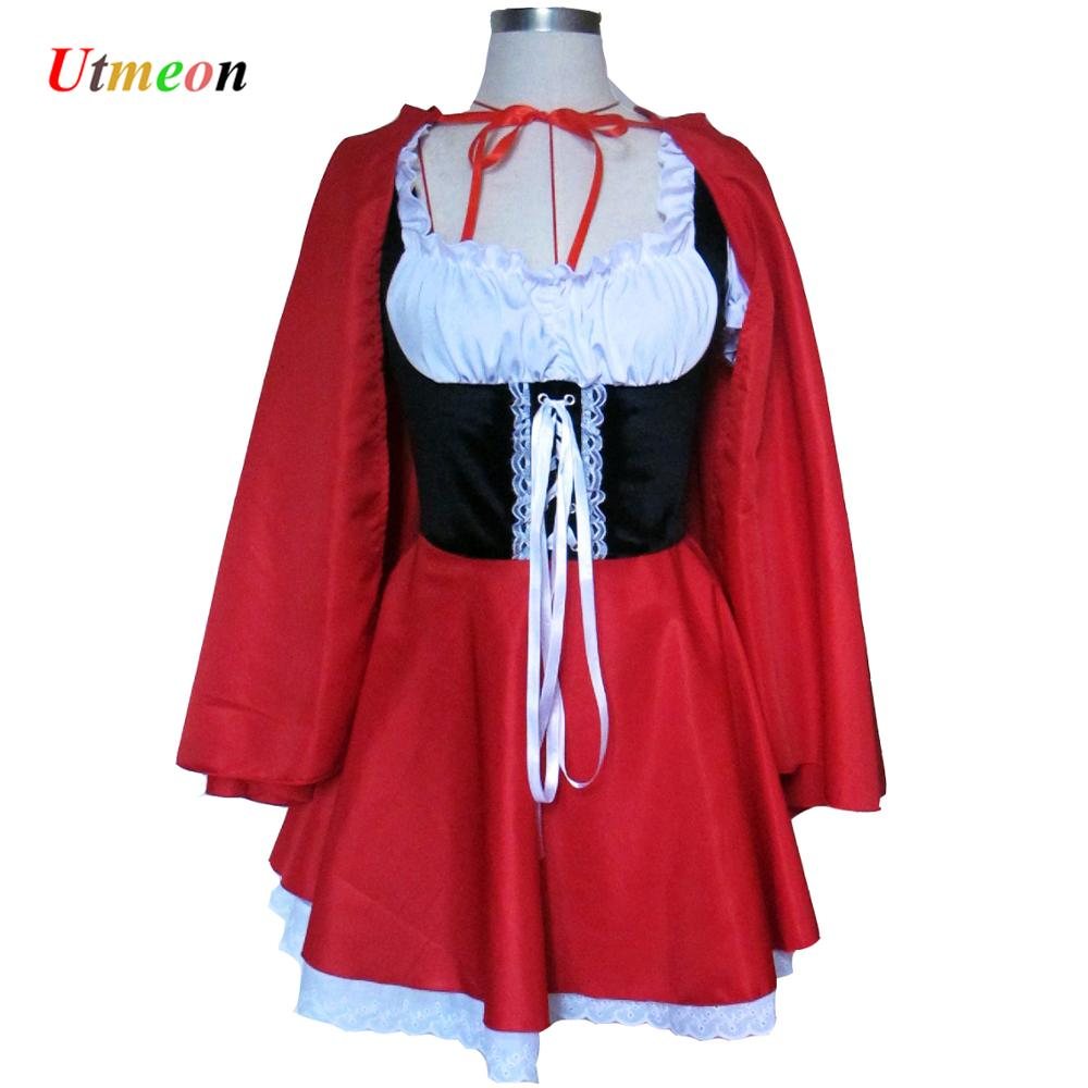 UTMEON Material Object Photo-Plus Size S-6XL Costume Adult Little Red Riding Hood Costume