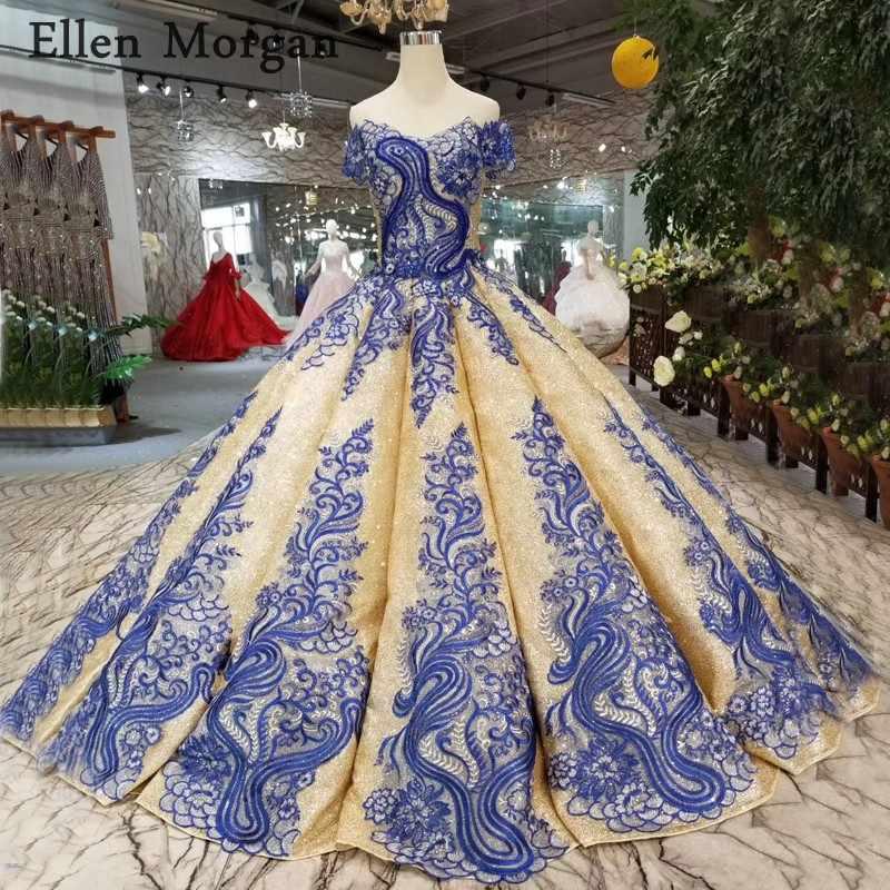 Elegant Glitter Gold Wedding Dresses