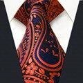 P18 tamanho extra longo orangered orange paisley vermelho azul preto Mens Gravatas Gravatas 100% Seda para o sexo masculino Moda lenço para masculino