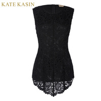 Kate Kasin Women Fashion High Low Floral Lace Tunic Tops Shirts Ladies Sleeveless Vest Shirts Femme