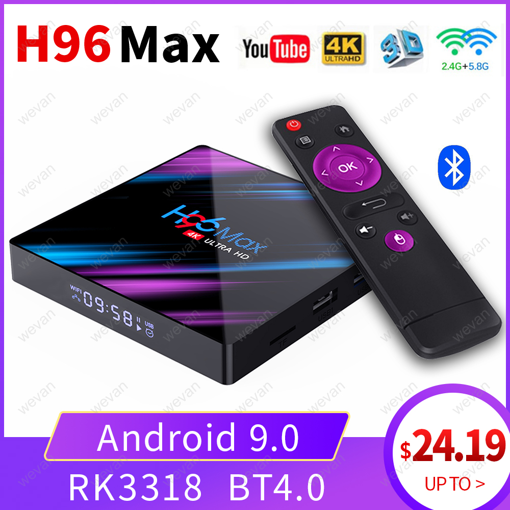 H96 MAX TV Box Android 9.0 2GB/4GB Ram 16GB/32GB/64GB Rockchip RK3318 H.265 4K Youtube Netflix Google Play Smart TV