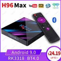 H96 MAX TV Box Android 9.0 2GB/4GB Ram 16GB/32GB/64GB Rockchip RK3318 H.265 4K Youtube Netflix Google Play Smart TV