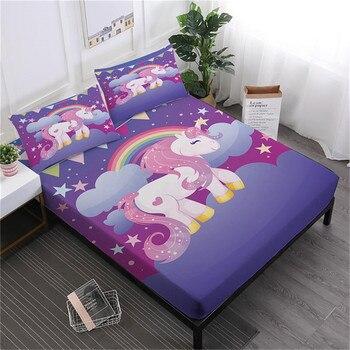 Комплект простыней с изображением единорога из мультфильма, цветной простынь с цветочным рисунком, постельное белье для девочек, постельно...