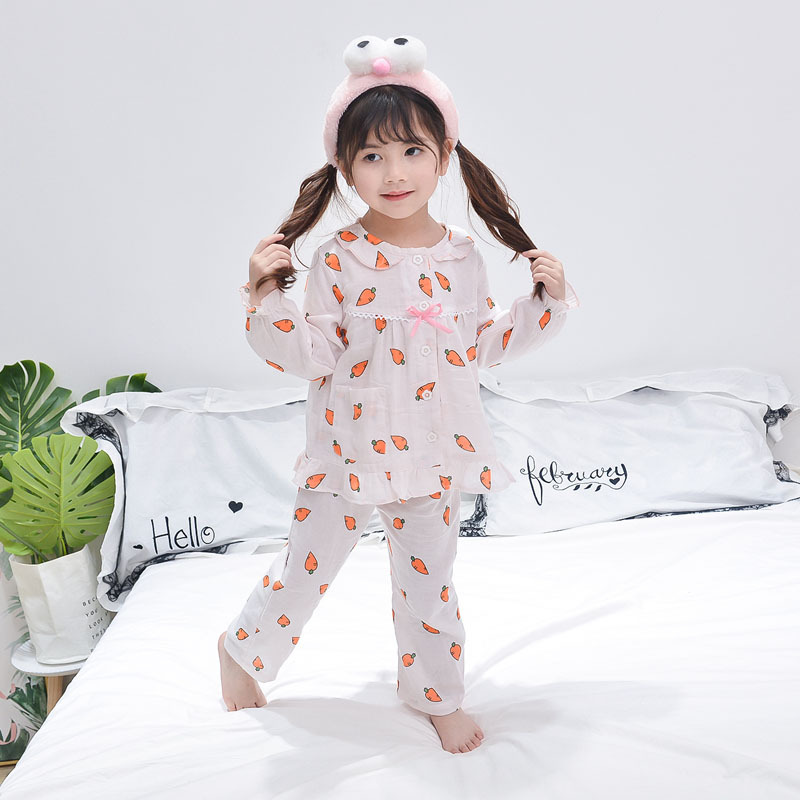 2018 New Arrival Baby Girl Pajamas Sets Cotton Children Clothing Carrot Print Pattern Sleepwear Toddler Nightwear Girl Clothing