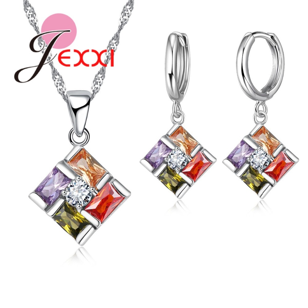 Gorgeous Rainbow CZ Pendente Charm Original 925 Sterling Silver Wedding Jewelry Sets Women Pendant Necklace Hoop Earrings