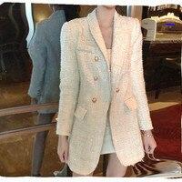 Elegant Women Tweed Blazer 2018 Autumn Office Laides Double Breasted Designer Blazer Women's Metal Buttons Tweed Jacket Coats