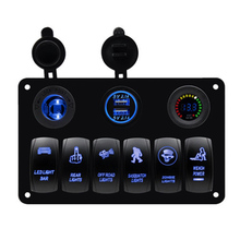 6 Gang Car Marine Boat Rocker Switch Panel Overload Protection Voltmeter Cigarette Socket Double USB Power Charger Waterproof boat car switch panel 6 gang led rocker switch panel 5v 3 1a usb power charger adapter digital voltmeter 12v cigarette socket