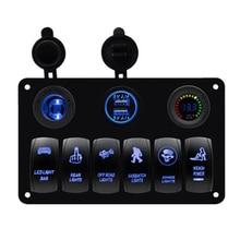 цена на 6 Gang Car Marine Boat Rocker Switch Panel Overload Protection Voltmeter Cigarette Socket Double USB Power Charger Waterproof