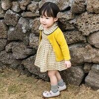Spring and Autumn New Long Sleeve Checker Dress + Coat Cotton Collar Princess dress 0 4 Years Cute Girl Dress