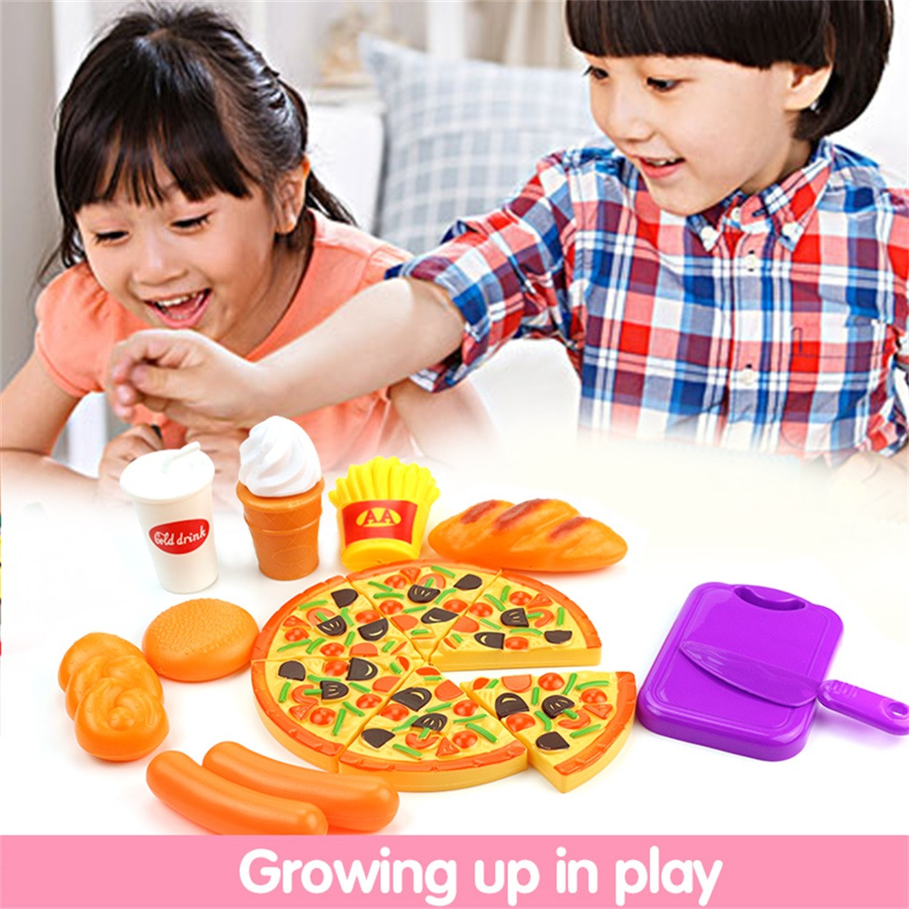 15pcs/lot Play House Toys for Children Cutting Fruit Plastic Vegetables Pizza Kitchen Baby Classic Kids Toys Classic Educational