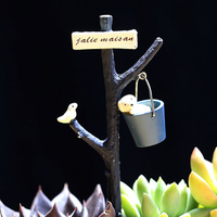 INKANEAR B09 ZAKKA Mini Resin Dog Puppy Bird Bucket Bonsai Micro Fairy Miniatures Decoration Toys Terrarium