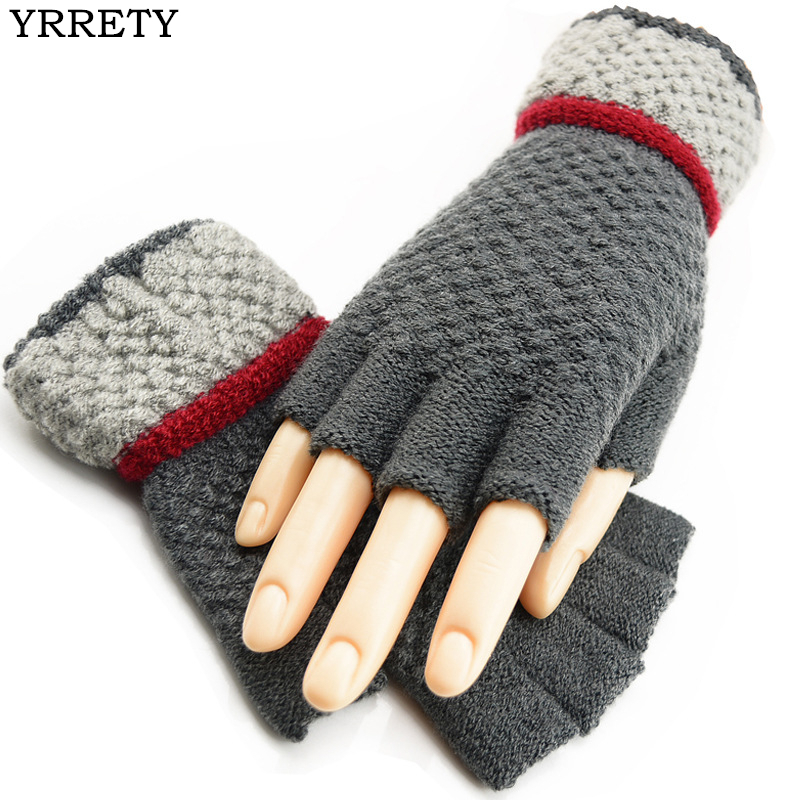 YRRETY Women Winter Fashion Warm Half Finger Knitted Wrist Gloves Soft Short Mitten Thick Fingerless Keep Warm Splice Wool Glove