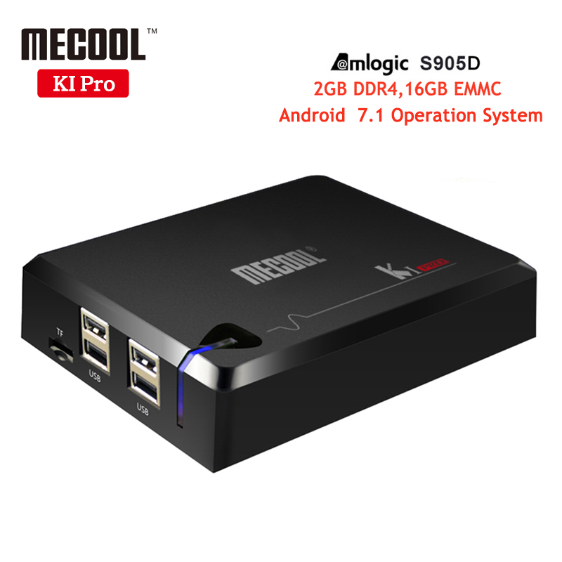 2pcs MECOOL KI PRO TV Box DVB Smart TV Box Amlogic S905D Quad 2GB DDR4 16GB DVB-S2&DVB-T2 DVB-C COMBO Set Top Box Android TV Box i box rs232 dvb s satellite smart sharing nagra 3 dongle black