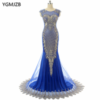 Long Evening Dresses 2017 Mermaid Scoop Cap Sleeve Beaded Appliques Lace Prom Dress Royal Blue Evening
