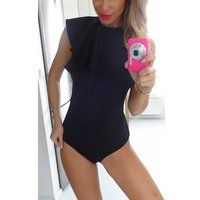 2016 Summer Womens Draped Bodysuit Sexy Petal Sleeve Rompers Femme Feamle Jumpsuit Chic